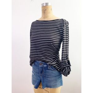 ✨SALE✨ Striped Bateau Neck Cuff Sleeve Knit Top